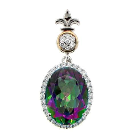 Meredith Leigh Sterling Silver and 14k Yellow Gold Mystic Quartz and White Zircon Pendant