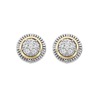 Meredith Leigh Sterling Silver and 14k Yellow Gold White Zircon Stud Earrings