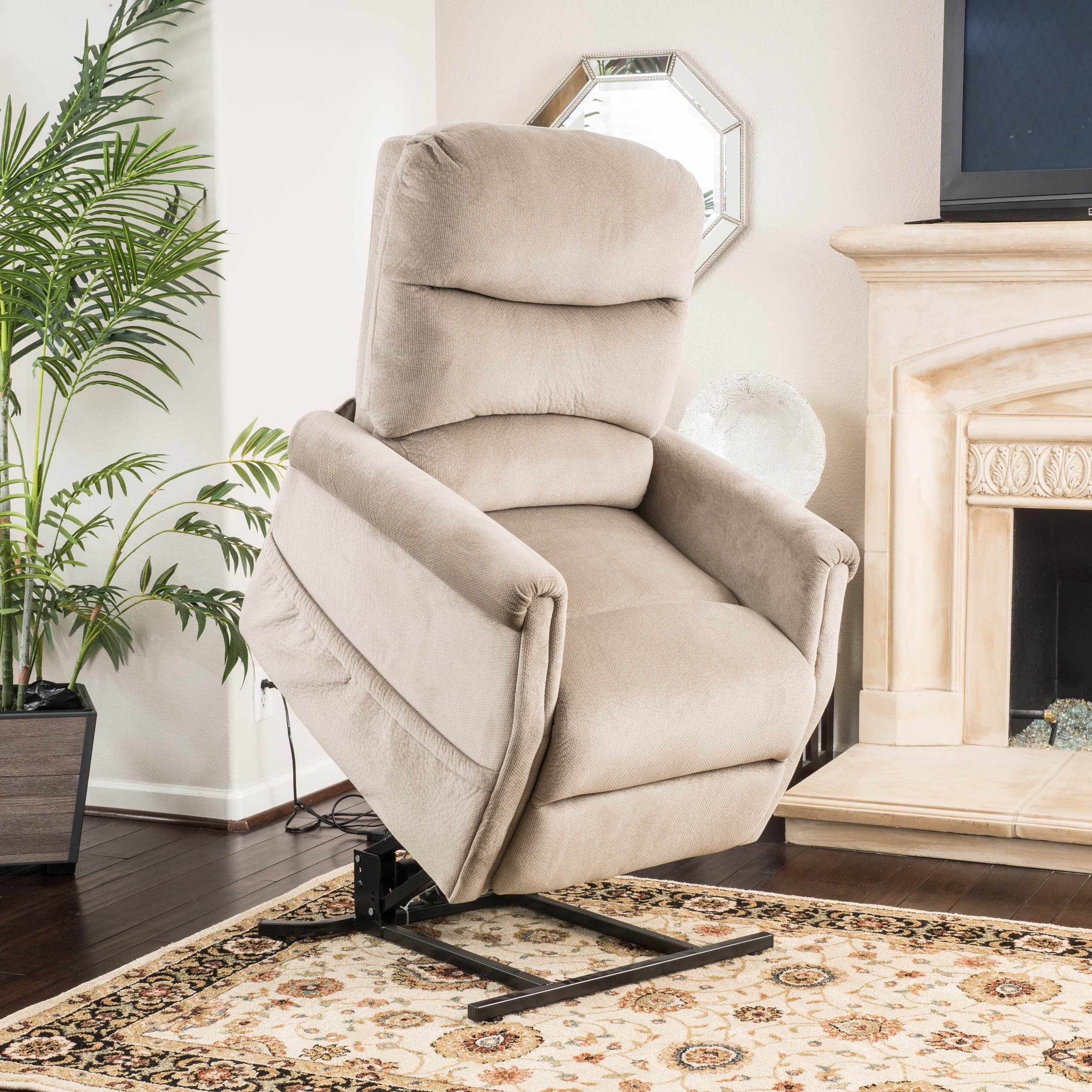 Shop Larissa Fabric Recliner Lift Club Chair by Christopher Knight ...