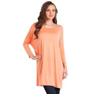 Jed Women's Rayon Long Sleeve Round Neck Soft Tunic