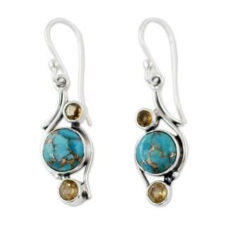 Handmade Sterling Silver 'Golden Sky' Citrine Turquoise Earrings (India)