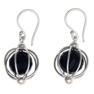 Handcrafted Sterling Silver 'Silver Lantern' Onyx Earrings (Indonesia)