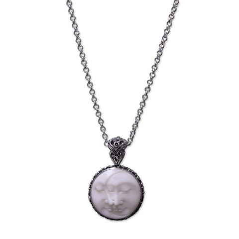 Handmade Sterling Silver 'Moon Romancing' Bone Necklace (Indonesia)