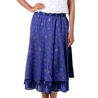 Cotton 'Royal Blue Tiers' Skirt (India)