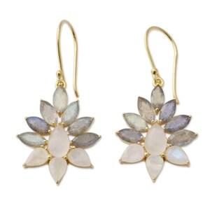 Gold Overlay 'Dusk Aura' Labradorite Moonstone Earrings (India)