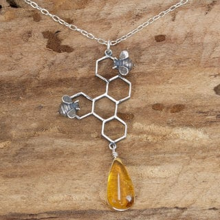 Handcrafted Sterling Silver 'Sweet Honey' Amber Necklace (Mexico)