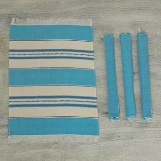 Set of 4 Cotton 'Oaxaca Sky' Zapotec Placements (Mexico)