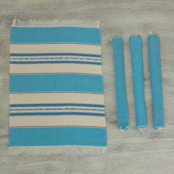 Handmade Set of 4 Cotton 'Oaxaca Sky' Zapotec Placements (Mexico)