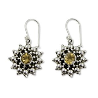 Handcrafted Sterling Silver 'Star' Citrine Earrings (India)
