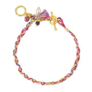Gold Overlay 'Pink for Love' Multi-gemstone Bracelet (4 mm) (Thailand)