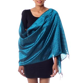 Handcrafted Silk 'Night Magic' Varanasi Shawl (India)