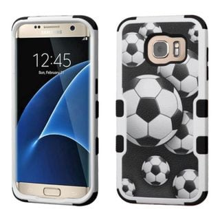 Insten Soccer Ball Collage Tuff Hard PC/ Silicone Dual Layer Hybrid Case Cover For Samsung Galaxy S7 Edge