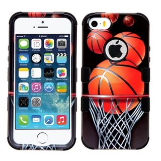 Insten Soccer Ball Collage Tuff Hard PC/ Silicone Dual Layer Hybrid Case Cover For Apple iPhone 5/ 5S/ SE