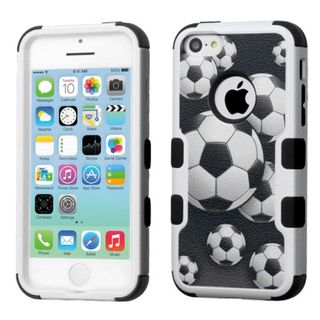 Insten Soccer Ball Collage Tuff Hard PC/ Silicone Dual Layer Hybrid Rubberized Matte Case Cover For Apple iPhone 5C