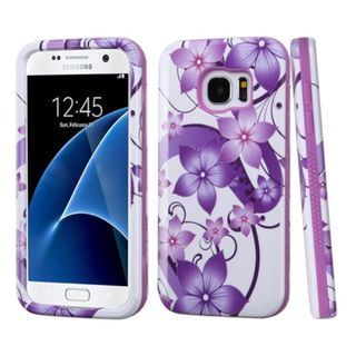 Insten Purple/ White Hibiscus Flower Romance Hard PC/ Silicone Dual Layer Hybrid Case Cover For Samsung Galaxy S7
