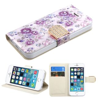 Insten Purple/ White Flowers Leather Case Cover with Stand/ Wallet Flap Pouch/ Diamond For Apple iPhone 5/ 5C/ 5S/ SE