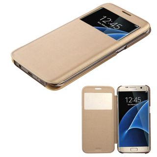 Insten Gold Leather Case Cover For Samsung Galaxy S7 Edge