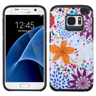 Insten Orange/ White Flower Buds Hard PC/ Silicone Dual Layer Hybrid Rubberized Matte Case Cover For Samsung Galaxy S7