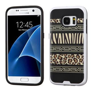 Insten Black/ Brown Zebra Hard PC/ Silicone Dual Layer Hybrid Rubberized Matte Case Cover For Samsung Galaxy S7