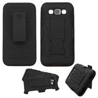 Insten Black Hard PC/ Silicone Dual Layer Hybrid Case Cover with Stand/ Holster For Samsung Galaxy E5