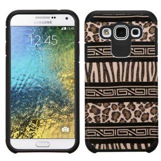 Insten Black/ Brown Zebra Hard PC/ Silicone Dual Layer Hybrid Rubberized Matte Case Cover For Samsung Galaxy E5