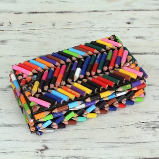 Upcycled Coloring Pencils 'Zigzag Rainbows' Box (India)