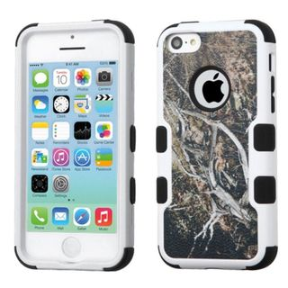Insten Yellow/ Black Vines Tuff Hard PC/ Silicone Dual Layer Hybrid Rubberized Matte Case Cover For Apple iPhone 5C
