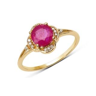 Malaika 14k Yellow Gold 1ct TGW Ruby and White Diamond Ring