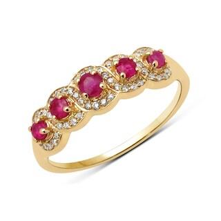 Malaika 14k Yellow Gold 1/2ct TGW Ruby and White Diamond Ring