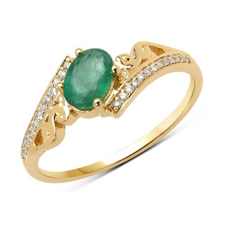 Malaika 14k Yellow Gold 1/2ct TGW Zambian Emerald and White Diamond Ring