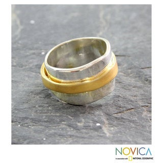 Handcrafted Gold Overlay 'Wheel Of Existence' Ring (India)