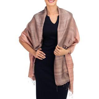 Handcrafted Silk 'Shimmering Cinnamon' Shawl (Thailand)