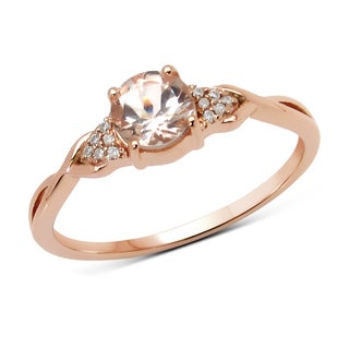 Malaika 14k Rose Gold 1/2ct TGW Morganite and White Diamond Ring
