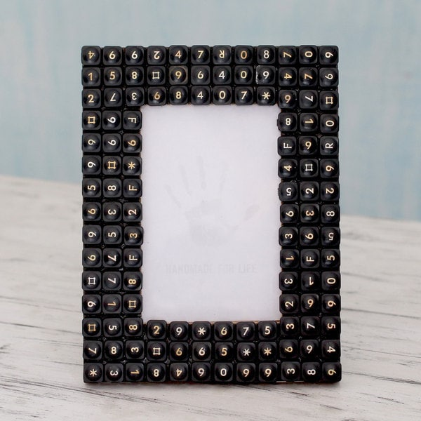 Handmade Upcycled Computer Keys 'Cyber Connection' Photo Frame (India)