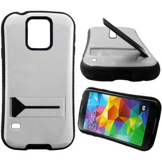 Insten White/ Black Hard PC/ Silicone Dual Layer Hybrid Rubberized Matte Case Cover with Stand For Samsung Galaxy S5