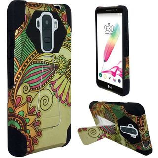 Insten Yellow/ Black Antique Flower Hard PC/ Silicone Dual Layer Hybrid Case Cover with Stand For LG G Stylo 2