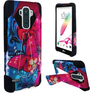 Insten Blue/ Pink Butterfly Bliss Hard PC/ Silicone Dual Layer Hybrid Case Cover with Stand For LG G Stylo 2