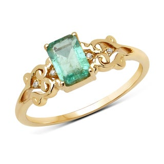 Malaika 14k Yellow Gold 3/5ct TGW Zambian Emerald and White Diamond Ring