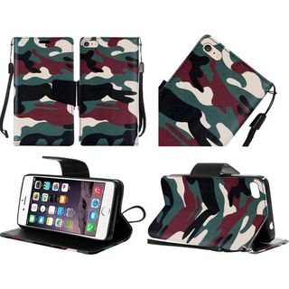 Insten Green/ Brown Camouflage Leather Case Cover Lanyard with Stand For Apple iPhone 6 Plus/ 6s Plus