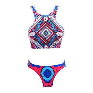 Zodaca Women's Tribal High-neck 2-piece Halter Bikini Swimsuit