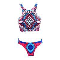 Zodaca Women's Tribal High-neck 2-piece Halter Bikini Swimsuit