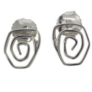 Handcrafted Sterling Silver 'Snail' Earrings (Mexico)