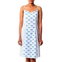Handmade Cotton 'Blue Lotus' Sundress (India)