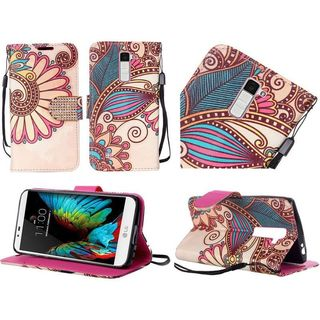 Insten Flowers Leather Case Cover Lanyard with Stand For LG K10