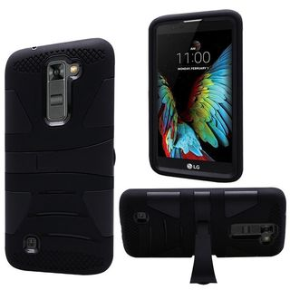Insten Hard PC/ Silicone Dual Layer Hybrid Rubberized Matte Case Cover with Stand For LG K10