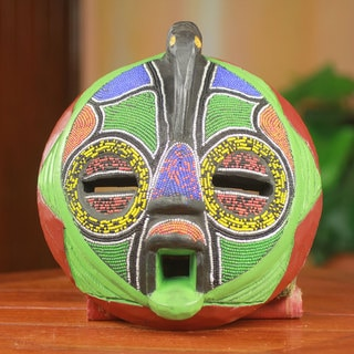 Handcrafted Beaded Sese Wood 'Flamingo' Mask (Ghana)