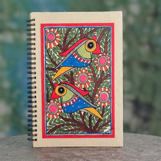 Handmade Paper 'Breaking Dawn' Madhubani Journal (India)