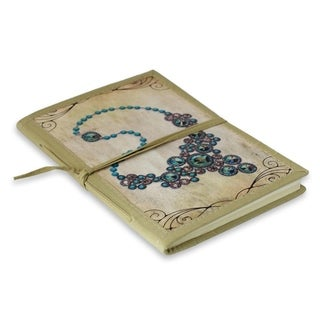 Handmade Paper 'Blue Gems' Journal (India)