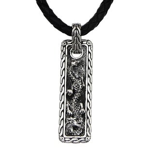Men's Sterling Silver Leather 'Bold Dragon' Necklace (Indonesia)