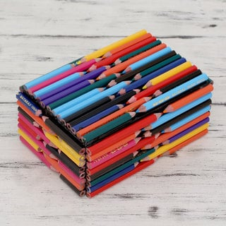 Handcrafted Upcycled Coloring Pencils 'Color the World' Box (India)